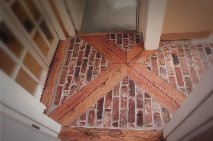 Photos of vintage brick veneer for Brick veneer floor